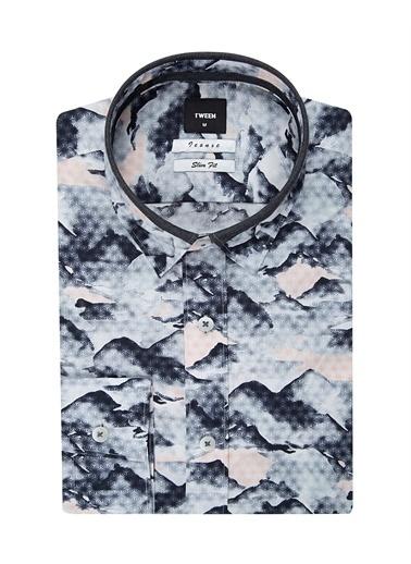 Tween Tween Slim Fit Klasik Gömlek Yaka Uzun Kollu Dağ Desenli Erkek Gömlek Lacivert